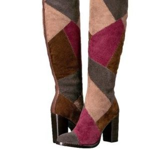 Frye Claude Patchwork Tall Suede Boots